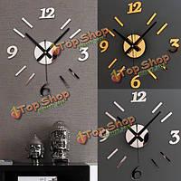 Современные 3d настенные часы зеркало дизайн поверхность украшение дома стикера кабинет