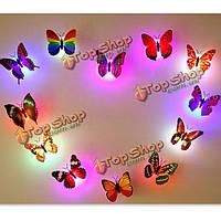 Цветов изменяя LED мигающие красочные бабочки ночь свет декоративные огни 3D наклейки домашнего декора