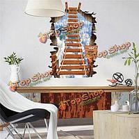 3D съемные мечта лестница наклейки наклейки на стены стены домой стена украшение