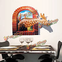 3D наклейки на стены съемный наклейки Жираф стены дома фоне стены украшения