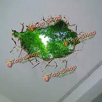 3D потолок отверстий в стене отличительные знаки съемные бамбука декор наклейки роща стен дома стены