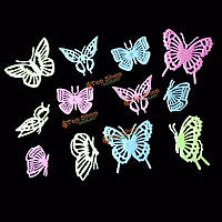 Бабочки разноцветные для декора стен 12шт