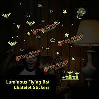 Светящиеся летучей мыши Шатле стикеры стены светятся в темноте домашнего декора комнаты стены окна