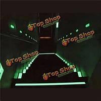 50мм х 1м фотолюминесцентных ленты светятся в темноте Знак безопасности исходящем ярко-зеленый
