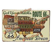 Американская мечта маршрут 66 олово знак Карта США старинных паб декор стен