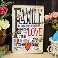 Семейная любовь листового металла рисования покраска металлов олова стены дома плакат знак