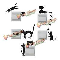 Творческий кошка переключения съемный наклейки обоев ПВХ винила домашнего декора