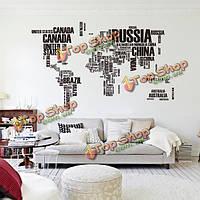 Черный карта мира стикер стены гостиной дома украшения автомобиля декора творческой деколи поделки росписи стены искусства