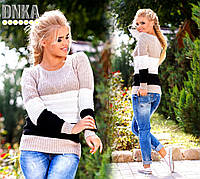Вязаный свитер в полоску