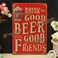 Пиво листового металла рисунок покраска металла олова магазин паб стены таверна плакат знак