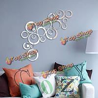 24шт круг наклейки 3D DIY домашнего декора ТВ стикер стены украшения стены зеркало