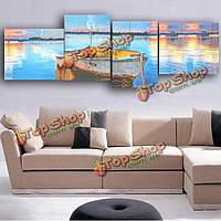 """Модульная картина на холсте """"Лодка на воде"""" 4шт"""