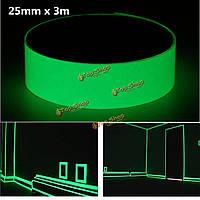25мм х 3м фотолюминесцентных ленты светятся в темноте Знак безопасности исходящем ярко-зеленый