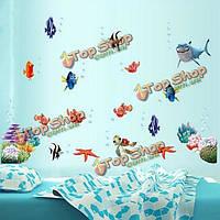 Coloful подводный мир стены стикер гостиная украшения дома творческих Термоаппликации diy настенной росписи стены искусства