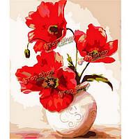 Номера комплект для поделок картины маслом красный цветок рисунок бескаркасной картину домашнего декора кафе подарок 40x50cm