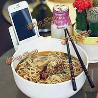 Творческой лапши чаша посуда 2l большой меламин мобильный телефон держатель чаши лапши