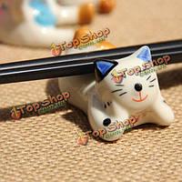 Мило керамическая кошка палочками держатель ложка стойку