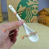 13см белый костяной фарфор кофе длинной ложкой