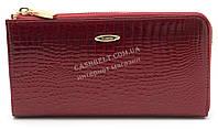 Стильный оригинальный кожаный лаковый женский клатч бумажник красного цвета H.Verde art.2596-44