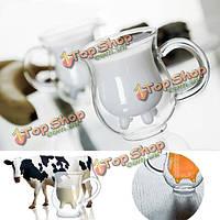 Двойной слой стекла коровье молоко чашки сливок кружка кофе