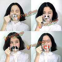 Мультипликационная стеклянная высокая температура чашки ручной работы стойкая прозрачная водная стеклянная кружка образца носа свиньи