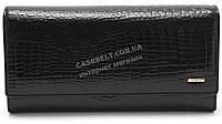 Вместительный оригинальный кожаный лаковый женский кошелек бумажник черного цвета H.Verde art.2597-67