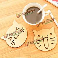 Кошка сова деревянные резные каботажное кофе чашка чая кружка коврик