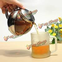 800мл нержавеющей стали стеклянный чайник с травяной чай листьев заварки фильтра цветка чайника