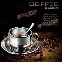 Из нержавеющей стали чашки кофе установлен двухъярусный изоляции полости кружка кофе с ложкой плиты