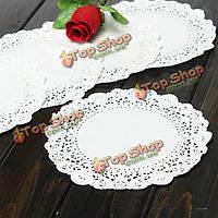 100шт 5.5-дюймов круглые кружевные бумажные салфеточки Cake десерт столовых