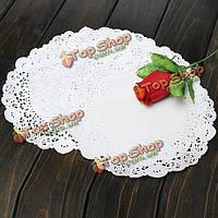 100шт 7.5-дюймов круглый бумажный кружевной Cake десерт салфетки для столовых приборов