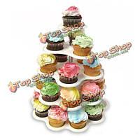 5-уровня Cake кекс шведский стол стоять Dispaly держатель свадьбу