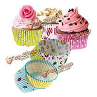 100шт смешанные красочные бумага Cake чашки выпечки сдобы кекс лайнеры