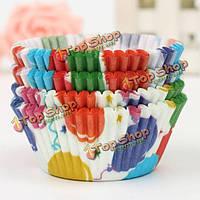 100шт шар шаблон кекс бумаги сдобы чашки высокая температура выпечки чашки