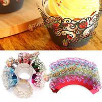 12шт 7 цветов филигрань кекс обертки обернуть случае свадьба день рождения партии поставок