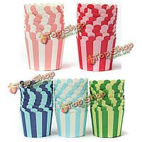 50шт кекс бумагой для выпечки полосой чашка булочки домашней свадьбы