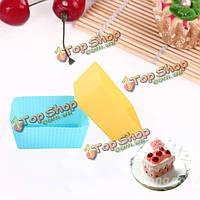 12шт силикона прямоугольник Cake кекс формы для выпечки сдобы чашки прессформы прессформы