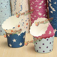 50шт звезды картины кекс бумаги сдобы чашки высокая температура выпечки чашки