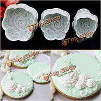 3шт цветок пиона Cake помады резак печенья печенья формы сахарного ремесло формы поделки