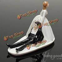 Брак смешно полистоуна фигурки свадебный торт ботворезы жених декор