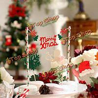 С Рождеством строка торт Топпер флаг баннер овсянка торт декора