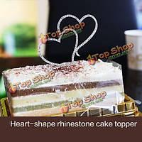 Романтический кристалл двойные сердца свадебный торт топпер украшения
