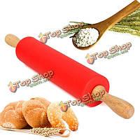 12-дюймов 30см инструмент деревянная скалка силикона качению Тесто муки хлеб кухня выпекание