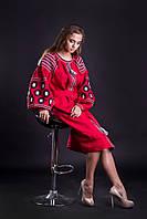 Платье красное с вышивкой, лен
