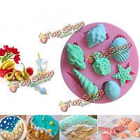 Морские раковины звезды рыбы силиконовые формы торт шоколадное мороженое украшения торта прессформы