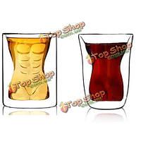 Сексуальные голые женщины мышцы человек пара кружки чашки вина стекла стакан