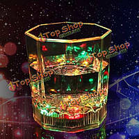 Inductive LED Wine Octagonal Cup Glass Bar Disco Whisky Beer Cup Colorful Night Light Cup