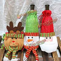 Рождественское винное рождественское художественное оформление стола званого обеда оленя снеговика мешка бутылки Санта Клауса