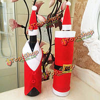 Рождественский мешок бутылки красного вина рождественское украшение Санта Клауса