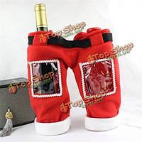 Рождественский рождественский винный мешок подарка бутылки покрывает рождественскую обстановку ужина стола